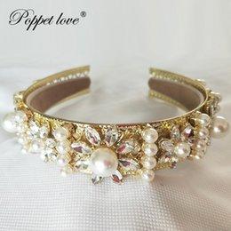 Accesorios medievales online-Venta al por mayor de oro accesorios de baile barroco reina mujeres corona ronda imperial medieval oro rhinestone tiara y19051302