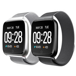 Y7 inteligente pulseira magnética Aço Belt Big Screen Passo Heart Rate Monitor inteligente Informações impulso lembrete Multi-language de Fornecedores de suporte de relógio inteligente compatível com apple ios