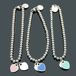 plastic slides Coupons - 2019 brand Design Titanium Steel Double Beads T Double Peach Heart bracelet Drop oil pink green blue love bracelet gold bracelets for women