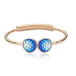Bilancia a forma di sirena di pesce Druzy Bracelet Resin Drusy Geometry Vari colori Lava Stone Bangle Women Jewelry da