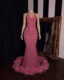 Vestidos de fiesta de invierno online-Rosa vestidos de noche de la sirena de los vestidos de noche 2020 de la pluma del desgaste formal del vestido de partido de las muchachas Negro Invierno robe de soirée Abendkleider