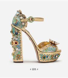 Saltos de plataforma de cristal on-line-Sandálias de salto alto 2019 Strass Bordados de Plataforma de Cristal de Diamante Chunky Heel Sandálias de Verão Real de Couro 2019 Gladiador Sandálias Sapatos