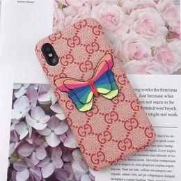 2019 iphone rückseitige abdeckung schmetterling Einteilige Luxustelefonkastenart und weise für iPhone 6S 7 8 P X XS Farben- und Schmetterlingsdesignertelefon-rückseitige Abdeckung für Geschenke günstig iphone rückseitige abdeckung schmetterling