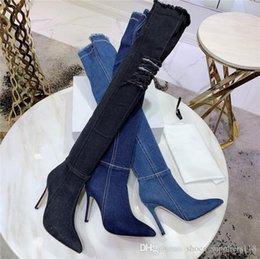 fori di scarponi Sconti 2019 Jean Boots Stivali alti da donna, Alti elastici alti bottoni al ginocchio con fori Cerniera blu con cerniera in jeans
