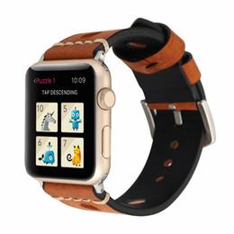 Deutschland Armband Weiche Retro Echtleder Uhrenarmband 38mm 42mm Uhrenarmband für Apple Watch Armband Armband Ersatz Loch Business Casual Versorgung