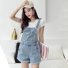 denim jumpsuits women rompers Promo Codes - Summer Jean Jumpsuit Women Rompers Denim Overalls Playsuit Female Wide Leg Short Jumpsuit Casual Loose Pockets Combishort Femme