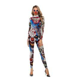 Um pedaço halloween trajes mulheres on-line-New cosplay traje de Halloween para as mulheres horror variante palhaço impresso one-piece traje Halloween night street dress