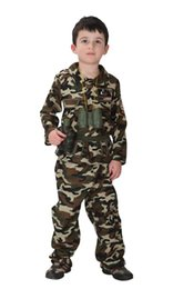 Vestire l'esercito uniforme online-Shanghai Story Kids Camoflage Army Costume Special Force Soldier Uniform Woodland Camo Tactical Suit Vestito operato da Halloween