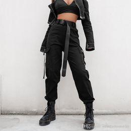 2019 koreanischen stil frauen hose Streetwear Cargo Pants Frauen Casual Jogger Schwarz Hohe Taille Lose Weibliche Hose Korean Style Ladies Pants Capri rabatt koreanischen stil frauen hose