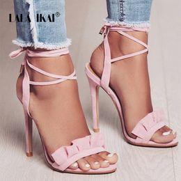 calcanhares Desconto LALA IKAI Ruffle Sandálias de Salto Alto Mulheres Sandálias de Tiras Cruzadas Mulheres Sapatos de Verão Mulher Sandálias de Alta Salto 014C1100 -4