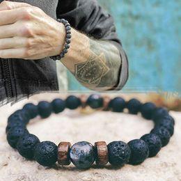 Armband stein tibetisch online-Herren-Armband Natürliche Mondstein-Korn-Tibetische Buddha-Armband Chakra Lavastein Diffuser Armbänder Men Natürliche Vulkan Stein Armbänder