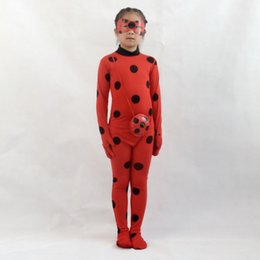 red jumpsuit costume Coupons - 2018 Hot Sale Cartoon Lady Bug Girls Cosplay Jumpsuits With Mask Bag Red Dot Print Girl Clothing Set Cute Kids Costume