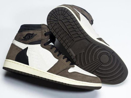 fd44b6ffeaa Best Quality 1 High OG Travis Scotts Cactus Jack Suede Dark Mocha TS SP 3M Basketball  Shoes Men Women 1s Sneakers With Box