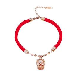 titan seil armband rot Rabatt 2019 Hot Pop Einfacher und vielseitiger Schmuck Damen Kristall von Austrian Lucky Titan Stahl rot Seil Ferkel Armband weiblich