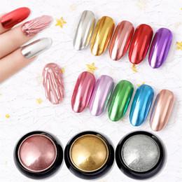 Polvo de oro brillo online-Nail Art Mirror Pigment Powder Nail Glitter Dip Powder Oro Rosa Brillante Cromo Polvo Decoración UV Gel Polaco