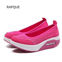 Le signore vestono i cunei della piattaforma dei pattini online-Dress Shoes Shake For Women Wedges Pumps Mid Heel Cushion Platform Ladies Casual Calzature femminili Walking Mesh Light Plus Size