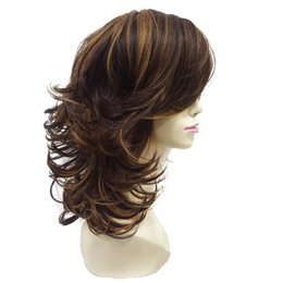 layered hairstyles medium hair Promo Codes - Women's Wig Auburn Layered Medium Curly Hairstyles For Thick Hair Synthetic Full Wigs