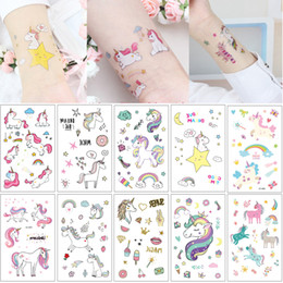makeup stars Promo Codes - Waterproof Temporary Unicorn Horse Tattoo Fake Cartoon Cute Kid Body Art Makeup Tattoos Sticker Star Rainbow Diamond Butterfly Decal Designs