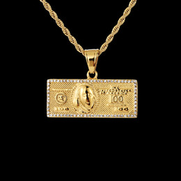 gold-dollar-schein Rabatt Charm US Dollar Halskette Pandent für eine Million Dollar Bill Währung Geld mit 316L Edelstahl vergoldet Farbe Hip Hop Schmuck