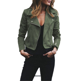 2019 jaqueta para baixo mulheres zip Jaqueta de couro das mulheres casaco gola virada para baixo manga longa senhoras top casacos zip up biker flight outwears roupas jaqueta para baixo mulheres zip barato