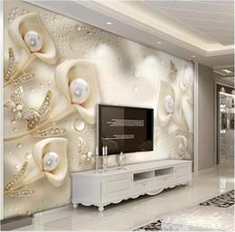 2019 papel de parede da água 3d Wallpaper 3d personalizados em 3D Calla borboleta Silk Water Wave Reflexão Quarto Sala fundo decoração da parede Wallpaper papel de parede da água 3d barato