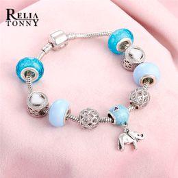 2019 branelli di fascini elefanti Braccialetto blu Perle di cristallo Vintage placcato argento Koi Elephant Lucky Ciondolo fai da te fascino braccialetti di marca braccialetti per le donne regali sconti branelli di fascini elefanti