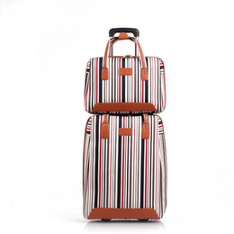 Blocco di colore della borsa online-Borsa da viaggio da donna Oxford Plain Stripe e borsa da viaggio 2pcs Set Da uomo da 20 pollici Borsa da trasporto trolley da imbarco Valigia color block