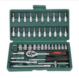 Profissional 46 Pcs Chave Soquete Set 1/4 de polegada Chave De Fenda Chave de Catraca Conjunto Kit de Reparação de Automóveis Ferramentas de Combinação de Reparação Ferramenta de Mão de