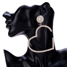 große gold weibliche ketten Rabatt Großes Herz Liebe Diamant Ohrringe Weiblichen Multi Schichten Klaue Volle Strass Kette Ohrringe Böhmischen Gold Und Silber Marke Frauen Schmuck