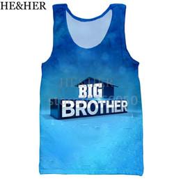 2019 hermano tanque Camisa de Big Brother Family Matching Camiseta sin mangas con estampado 3D para hombres Moda sin mangas con cuello alto ejercicio hombres mujeres halter hermano tanque baratos