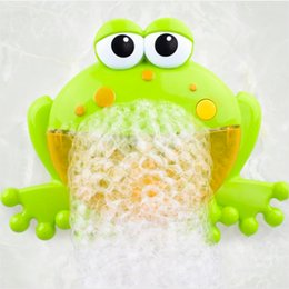Maquina sopladora online-Baño del bebé Accesorios de baño Conjuntos Big Frogs Bubble Blower Automático Fabricante de Música Máquina de Jabón de Bañera Q190528