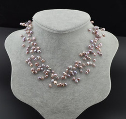 Perlas naturales de lavanda online-Collar de perlas de lavanda natural del mar del sur.