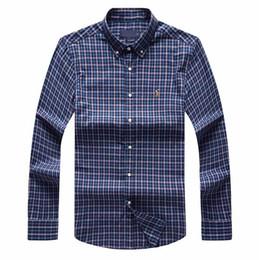 Homens de camisas xadrez azul on-line-Bbbb manta de transporte lapela dos homens de manga comprida camisa de algodão dos homens polo azul marinho camisas oxford business casual camisa pequena roupa de cavalo s-xxxl