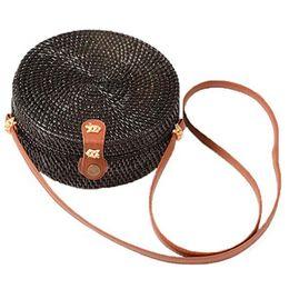 Porte-monnaie vintage en Ligne-Sac en rotin sac à bandoulière vintage en paille ronde tissée à la main avec fermoir emboîtable, noir (fermoir emboîtant)