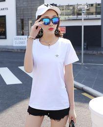 T-shirt heiße modell frauen online-Heißer verkauf frauen t-shirt damen qualität baumwolle t-shirt plue größe kurzarm lose fit femme stil modell