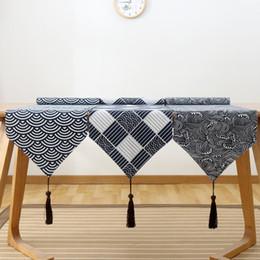 2020 mantel japonés Bandera de la mesa japonesa Algodón y lino Tabla de la tabla de la tela escocesa Estera del mantel retro Patrón de la tabla del corredor de la vendimia rebajas mantel japonés