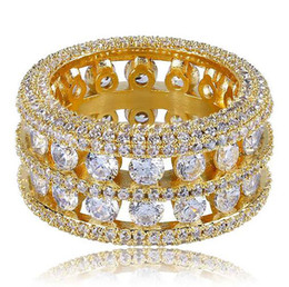 Wholesale Mens Row Channel Set Hohl Ewigkeit Band Gold CZ Bling Ring Simulierte Diamanten Micro Pave Set Steine Hip Hop Ringe