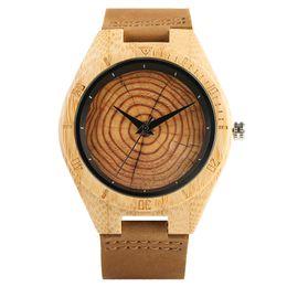 guarda le donne alla moda Sconti Trendy ed elegante al quarzo orologi in legno fatti a mano per le donne degli uomini del grano di legno Genuine Leather Wristband Chiusura polso