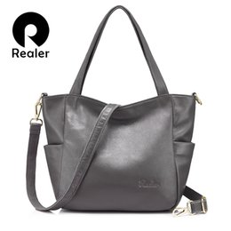 f6893387a40 2019 Fashion REALER women shoulder bags for 2018 genuine leather crossbody  bag for women casual totes high quality large capacity handbags