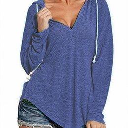 Sudaderas con capucha de moda para mujer Nuevo diseñador Sexy con cuello en v Sudaderas con capucha para mujer Sudadera informal de manga larga Tamaño S-2XL desde fabricantes