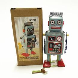 Robôs de estanho on-line-Estanho Robô Brinquedos Do Vintage Robô Mecânico Clockwork Wind Up De Metal Andando Crianças Presente Retro Clássico Coleção 15jj F1