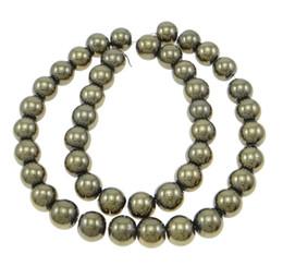 Pyrit gold online-Hochwertiger Schmuckherstellung 15,5 Zoll Runde Goldene Pyritperlen für glatte natürliche Edelsteinkugelperle 2/3/4/6/8/10 / 12mm