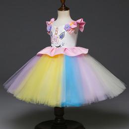 2019 fiori anno Principessa ragazze halloween natale costume Unicorno vestito 1-6 anni bambina tutu gonne con maniche a fiori per bambini boutique gonne festaiola sconti fiori anno