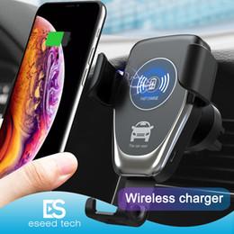 Cargador de coche inalámbrico qi online-C12 Cargador de coche inalámbrico 10W Cargador inalámbrico rápido Soporte de montaje en automóvil Soporte de teléfono de gravedad de ventilación Compatible para iphone samsung Todos los dispositivos Qi