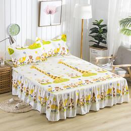 2019 hojas de impresión jirafa Nueva Falda de cama de impresión de jirafa de dibujos animados a prueba de agua con sábana de superficie Funda de colchón Sábanas de cama de textil doméstico rebajas hojas de impresión jirafa