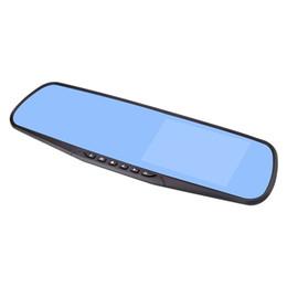 """Vista de pantalla azul online-2 canales de conducción de la cámara DVR del coche del espejo tablero grabador de vídeo frontal trasera 170 ° 120 ° ángulo de visión amplio de 4,3"""" pantalla anti-reflejos de cristal retrovisor azul"""