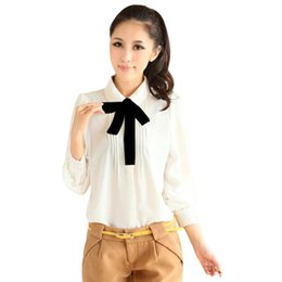 Camisas baratas de manga larga online-Nueva mujer de las mujeres baratas de manga larga cuello Peter Pan gasa blusa camisa Bowtie informal