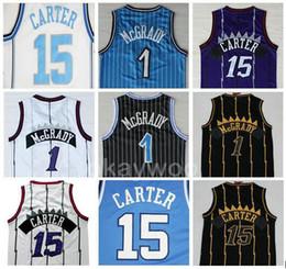 Mejores uniformes online-Hombres Uniformes de Carolina del Norte Baloncesto universitario Vince 15 # Carter Jersey Tracy 1 # McGrady Jerseys cosidos de la mejor calidad Negro Púrpura Blanco
