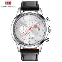 мужчина часы хронограф известные бренды Скидка MINIFOCUS Известный Бренд Кожаный Ремешок Аналоговые Часы Мужчины Люкс Мужской Хронограф Япония Движение Кварцевые Наручные Часы Свадебные MF0084G