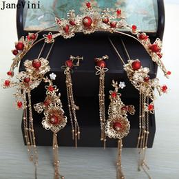 accessoire de cheveux rouge de mariage chinois Promotion JaneVini Costume Chinois Traditionnel Rouge Coiffe Mariée Or Glands Ancien Épingles À Cheveux De Mariage Mariées Bijoux De Cheveux Accessoires